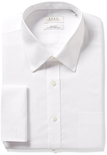 Enro Men's Classic Fit Solid Point Collar French Cuff Dress Shirt, White, 16.5