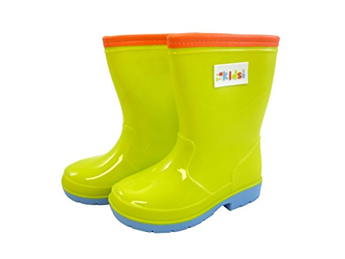 Tierra Garden 53-B5107 Briers Kids Bright Rubber Boot, Size 7, Green with Orange Trim/Periwinkle Blue Sole ()
