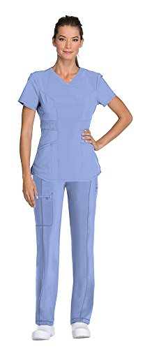Cherokee Infinity Women's V-Neck Scrub Top with Certainty CK623A & Low Rise Drawstring Scrub Pants 1123A Medical Scrub Set (Ciel – XX-Large/XX-Large)