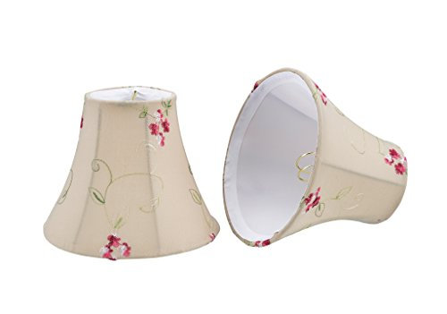 Aspen Creative 30055-2 Small Bell Shape Chandelier Clip-On Lamp Shade Set (2 Pack), Transitional Design in Apricot, 6