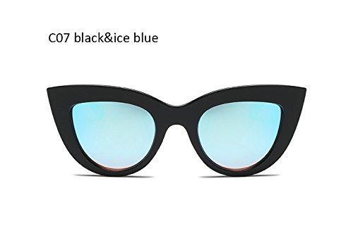 Retro Mujeres Moda Clásico Mujeres Gato Gafas de para Gris Iceblue Whiteblack Gafas Damas de de Ojo ZHANGYUSEN Cateye Sol UV400 negro qWZxzwq