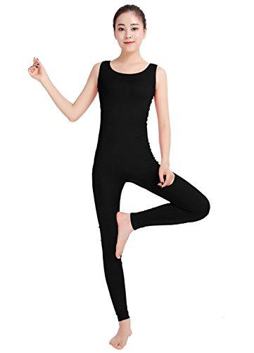 Ensnovo Womens Spandex Sleeveless Bodysuits Scoop Neckline Ankle-length Tank Tops Unitard Black,M