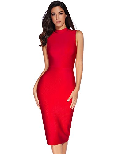 Meilun Women's Rayon Bodycon high Collar Celebrity Bandage Dress (M, Red) ()