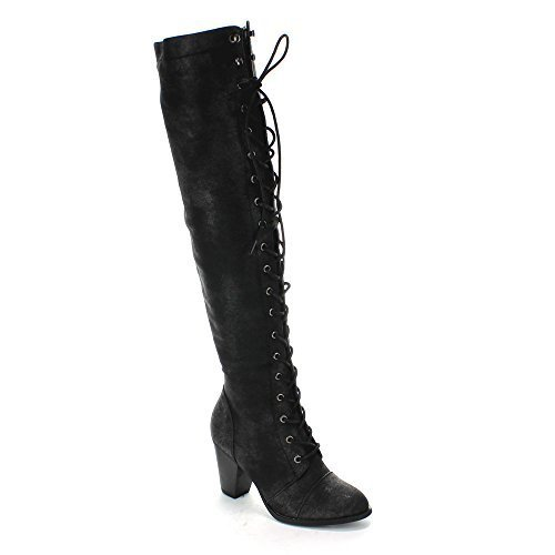 Image of Forever Camila-48 Womens Chunky Heel Lace Up Over The Knee High Riding Boots,Black,7.5