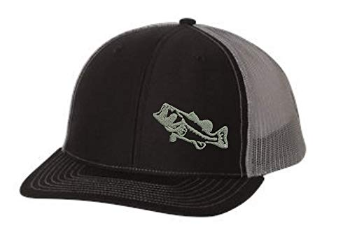 - Trucker Hat - Bass Fishing -Adjustable Snapback Men Women (Black/Charcoal)