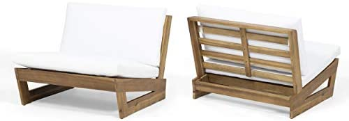Great Deal Furniture Emma Outdoor Acacia Wood Club Chairs with Cushions Set of 2 , Teak and White