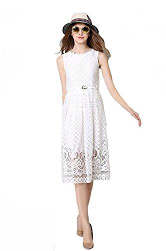 MoonlightCity Women Spring Summer Bohemian Hollow Lace Dress