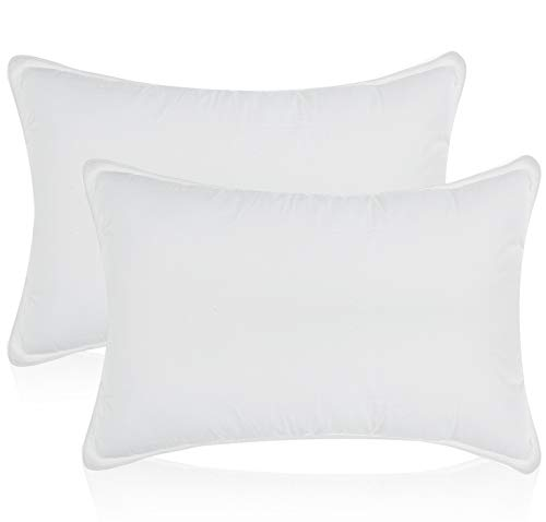 White time honored along numerous smooth Bed Pillows for Sleeping - 100% Cotton Pillow Cover - Hypoallergenic Dust Mite reluctant - No Flattening - King Size - 2-Pack