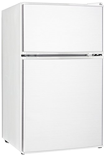 Midea WHD-113FW1 Double Door Mini Fridge with Freezer for Bedroom Office or Dorm with Adjustable Remove Glass Shelves Compact Refrigerator 3.1 cu ft, White