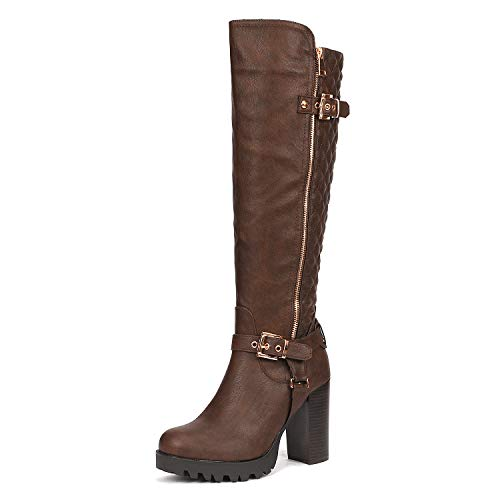DREAM PAIRS Women's FUNI Brown Chunky Heel Knee High Winter Boots Size 5 B(M) US -
