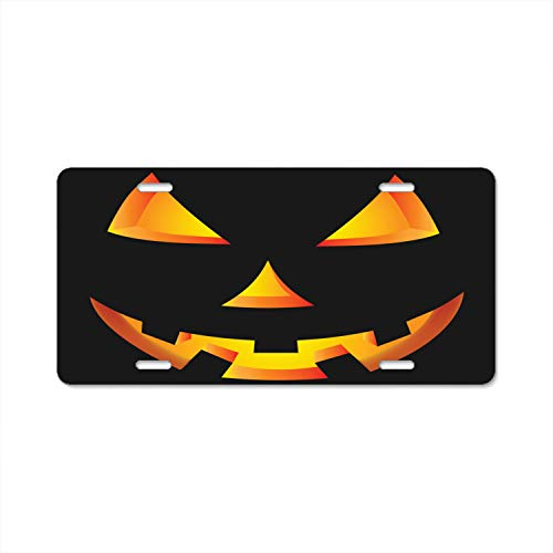 Ayibagexi License Plate Scary Pumpkin Eyes Halloween Custom License Plate Holder Durable Car Tag 12