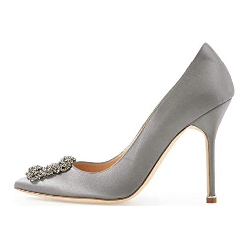 Amarantos Women's Pointed Toe Diamonds Jeweled Satin Wedding Party Evening Dress Stiletto Heel Shoes Grey Size 8