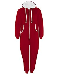 REAL LIFE FASHION LTD Unisex Hooded Playsuit Zip Up Onsie1 Jumpsuit