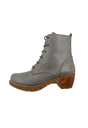 Botas de cuero con cordones de la bota del tobillo del arte Zundert Gris Gris 1012, ART Schuhe Damen:41