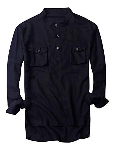Mens Linen Shirts Long Sleeve Banded Collar Button Up Summer Beach Tops Lightweight Cotton Shirt - Shirt Collar Short Banded Sleeve Work