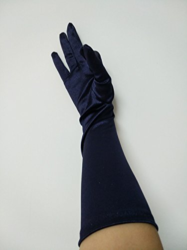 CL 15 Inch Satin Long Arm Mitts Evening Party Opera Bridal Dance Costume Gloves 27 Colors (Navy Blue)