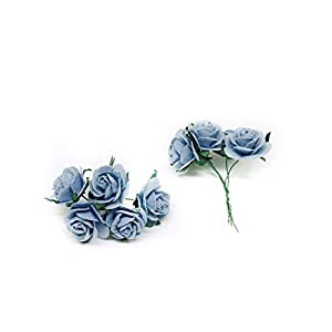 """1"""" Blue Mulberry Paper Roses, Mulberry Paper Flowers, Miniature Flowers, Wedding Flowers, Blue Wedding, Baby Shower Flowers, Artificial Flowers, 20 Pieces 2"""