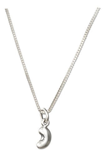 Sterling Silver Mini 3D Bean Pendant on 18 inch 0.85mm Box Chain Necklace - Bean Pendant