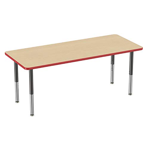 FDP Rectangle Activity School and Classroom Kids Table (30 x 72 inch), Toddler Legs, Adjustable Height 15-24 inches - Maple Top and Red Edge