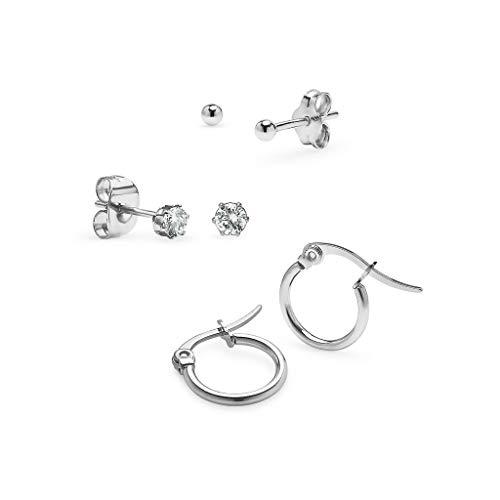I Jewel - 3 Pairs Silver Tone 2mm Hoop Earrings, 2mm Ball & 3mm CZ Stud for Women Girls Set 10mm