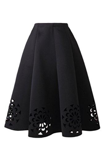 Black Haute Fleurs 1940 Creux Annes Vemubapis Tutu Taille Femmes Plis Des OwvZFq7
