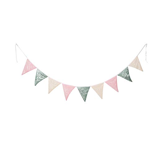 PartyDelight Pink Mint Green and Ivory Sequin Bunting, Multicolor Fabric Triangle Flag Bunting for Party,Wedding Sequin Bunting/Garland, Outdoor Bunting Flag(9 Flags in one Bunting, 2 Packs)
