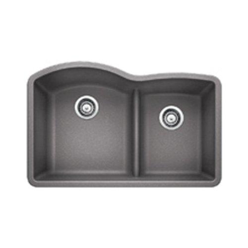 1.75 Medium Double Bowl - Blanco FBA 441592 Diamond 1.75 Low Divide Under Mount Double Bowl Kitchen Sink, Large, Metallic Gray