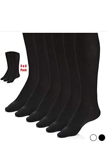 (Men Classic Nylon Dress Socks - Best Men's Socks - Black Men's Socks - White knee socks - by Topfit, 3 & 6 Pack)