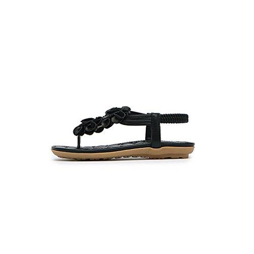 Clip pie Dedos Inferiores Bohemias Planos Negro Zapatos Coreano Playa Femeninas Sandalias del Romana Verano Ocasionales Sandals qpAIwI