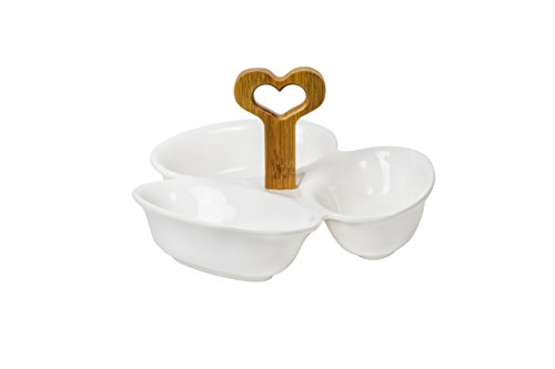 Three Section Dipping and Condiment White Ceramic Bowls with Bamboo -