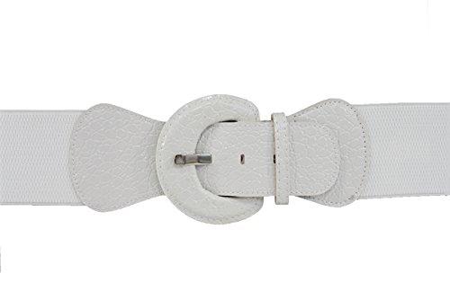 TFJ Women Fashion Belt Hip Elastic High Waist Stretch Band Plus M L Xl True White