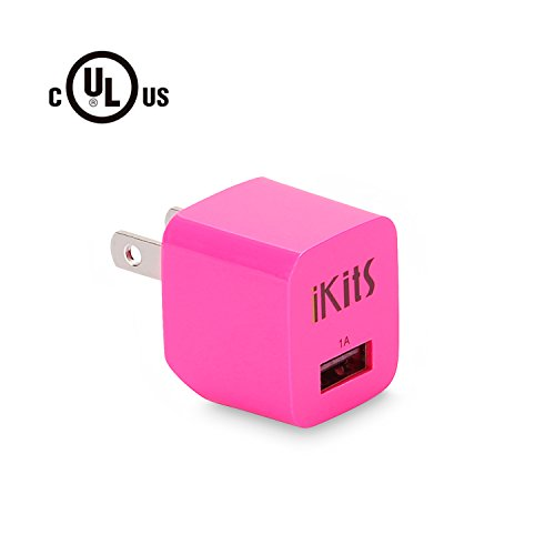iKits (UL Certified) Universal USB Wall Charger Plug,Ultra Compact Foldable Travel Charger Single Port, 5V 1A Power Adapter Compatible iPhone X, 8.8Plus, 7,7P, 6,SE, iPhone,ipad, iPod More Pink