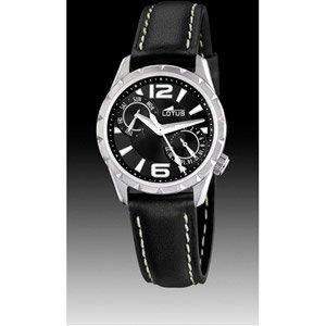 Lotus 15659/1 - Reloj analógico de mujer de cuarzo con correa de piel negra