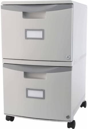 Storex 2-Drawer Mobile File Cabinet With Lock and Casters, Legal Letter – Gray Gray