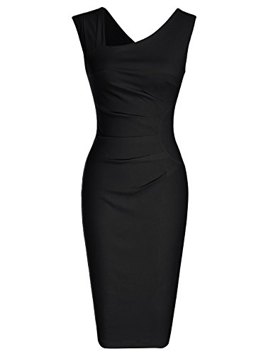 MUXXN Women's Cap Sleeve Solid Color Special Occasion Midi Dress (L Black)