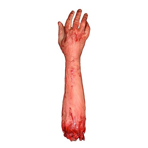 1 Pack Halloween Bloody Arm Scary Fake Bloody Broken Severed Hand Realistic Halloween Prop Decoration Novelty and Gagar toys Gag toy spoof -