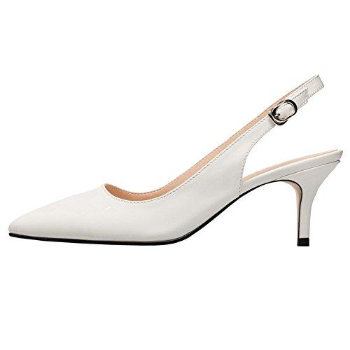 Mujer Sandalias Jushee MRB03 Zapatos de Tacón Slingback Sandalias Mujer de Tacón Alto con Puntera Punta 1 Par Blanco