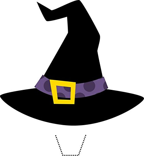 [12 x HALLOWEEN Purple Witches Hat Edible Standup Wafer Paper Cake Toppers (5 - 10 BUSINESS DAYS DELIVERY FROM] (Witch Cutouts)