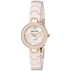 Anne Klein Women's AK/2660LPRG Diamond-Accented Rose Gold-Tone and Light Pink Ceramic Bracelet Watch