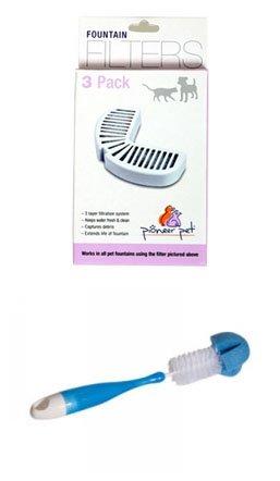 Pioneer Pet Ceramic Drinking Fountain Filters and Cleaning Brush (Cleaning Drinking Fountains)