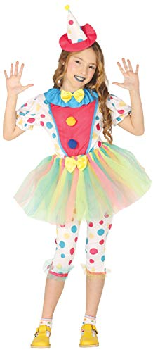(Girls Spotty Tutu Clown Cutie Circus Bright Carnival Halloween Fun Fancy Dress Costume Outfit 3-12 Yrs (7-9)