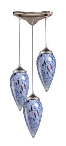 Elk 503-3BL 3-Light Pendant In Satin Nickel and Starlight Blue Glass