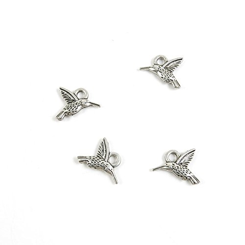 60 Pieces Antique Silver Tone Jewelry Making Charms M7AI6 Hummingbird Bird Pendant Ancient Findings Craft Supplies Bulk Lots