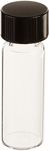 - Kimble 60811B-1 Borosilicate Glass Clear Screw Thread Sample Vial with PTFE Faced/White Rubber Lined Closures, 1 Drams Capacity, 13-425 GPI Thread Finish (Case of 144)