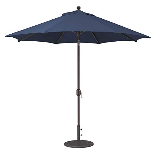 9-Foot Galtech (Model 737) Deluxe Auto-Tilt Umbrella with Antique Bronze Frame and Sunbrella Fabric Navy (Includes Extended Frame Warrantee)