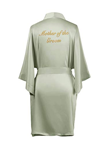 AW Satin Bridesmaid Robes Short Bridal Robes for Bridesmaid Gifts Soft Womens Kimono Robe Sage Green L