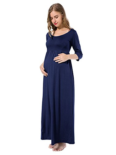Jinson Women's Basic 3/4 Sleeve Maternity Maxi Long Dresses Vestido with Empire Waist for Pregnancy Navy XL