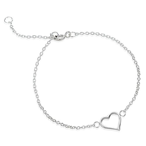 Open Heart Charm Anklet Bracelet Foot & Ankle Jewelry, Adjustable Chain 9-10