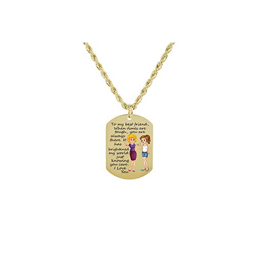 Pink Box Sentimental Tag Necklace to My Best Friend - Girl and Girl - Gold