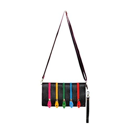 Handbag Shoulder Clutch Colour with Black Bag 5 Strap Kitsch Multi Zip Funky FHw4q4